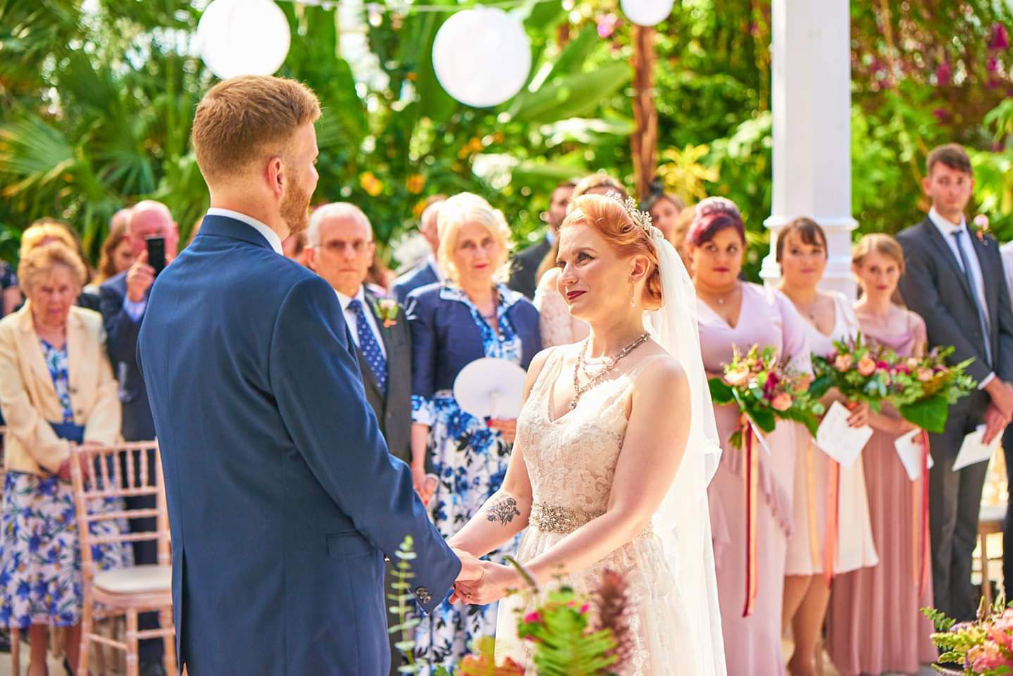Couple taking vows Palm House Liverpool