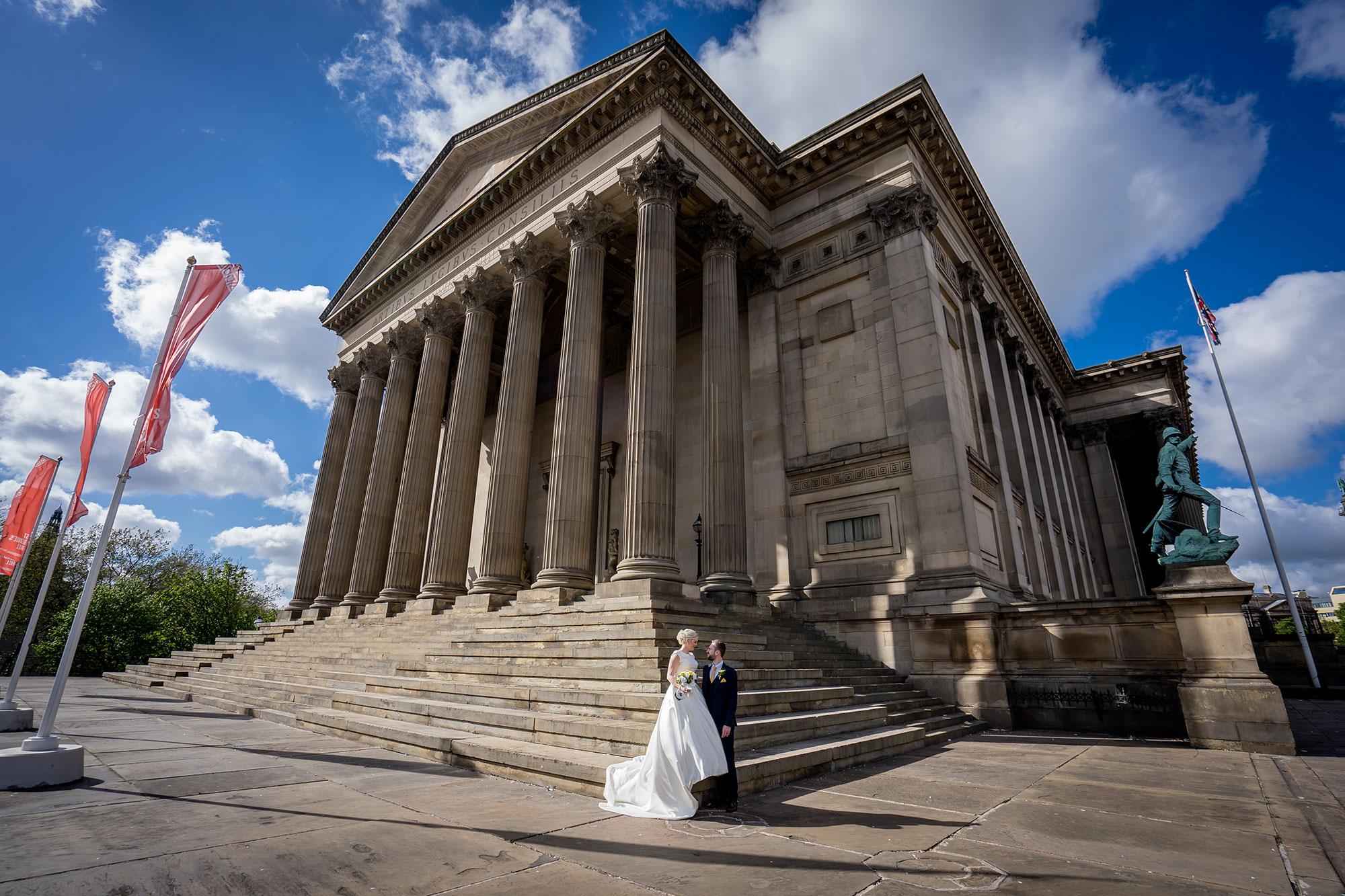 Couple on St Georges Hall steps